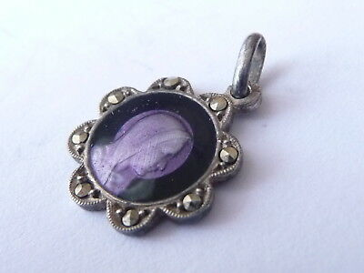 Small  Vintage Vergin  Mary  Pendant  -  Enamelled  And  Marcasite  Set