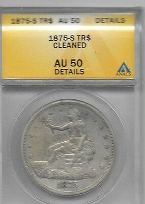 1875-S Silver Trade Dollar Grades Au-50 Is Reverse 2 Variety