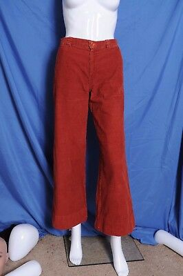 Vintage '70s Sears JR Bazaar brick red flair wide bell bottom corduroy pants 10