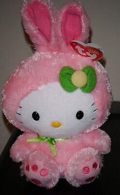 Ty Beanie Baby ~ HELLO KITTY WITH PINK EASTER BUNNY SUIT - MINT with MINT TAG