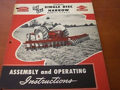 Ford Tractor Dearborn Farm Equipment Single Disk Harrow Disk Harrow instructions
