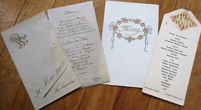 Menu: French Vintage Group of Three Different - 1902, 1932, 1930s