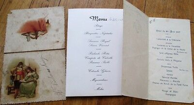 Menu: French Vintage Group of Three Different - 1891, 1927, 1958