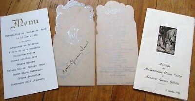 Menu: French Vintage Group of Three Different - 1904, 1945, 1952