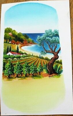 French Wine Label 1950s Original Art/Hand-Painted, Vineyard & Sea, Artist-Signed