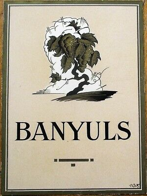 French Wine Label 1950s Original Art/Hand-Painted Art Deco, 'Banyuls'