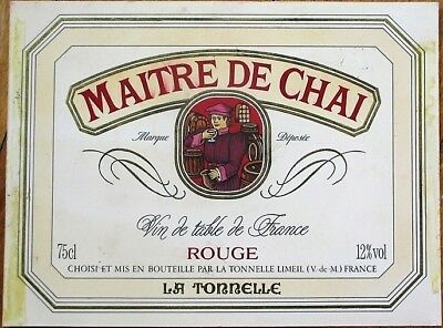 French Wine Label 1960s Original Art/Hand-Painted, 'Maitre de Chai'