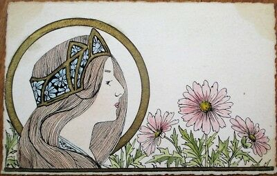 Art Nouveau, Hand-Painted, Original Art 1905 French Postcard - Woman & Gold