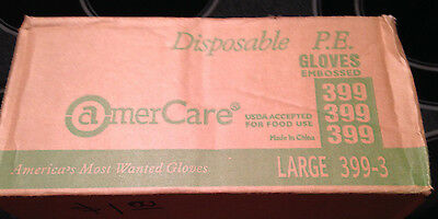 Amercare Disposable Polyethylene Gloves Embossed USDA Approved Large 399-3