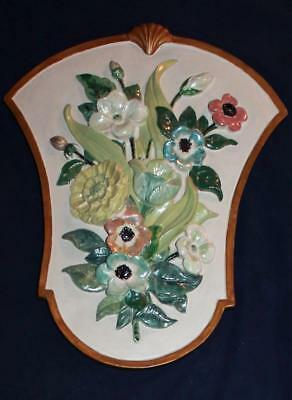 Vtg Large Raised Hand Painted Floral Flower Chalkware Plaster Wall Plaque Shabby