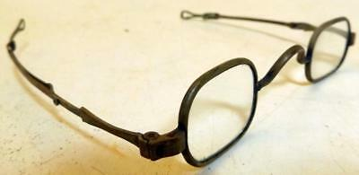 Antique Square Lens Eyeglasses w Sliding Stems & Loop-Ends Early 1800s