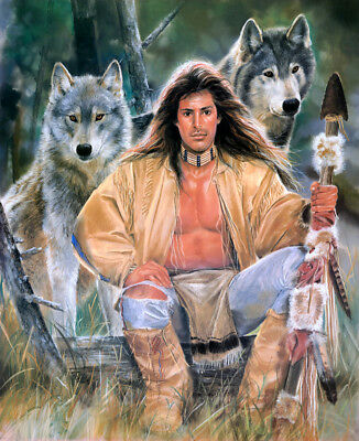 Home deco wall art Hunter and wolf Oil painting HD printed on canvas L1640
