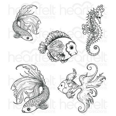 Heartfelt Creations Rubber Stamps with Dies - Under the Sea, Seahorse, Fish
