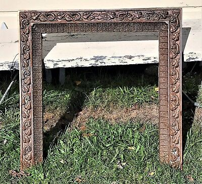 Antique Ornate Victorian Cast Iron FIREPLACE SURROUND Architectural Frame