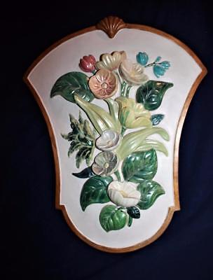 Vintage Large Raised Hand Painted Floral Flowers Chalkware Plaster Wall Plaque
