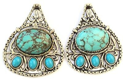 2PCS Fine Antique Silver with Turquoise charms-Pendant Beading Supplies
