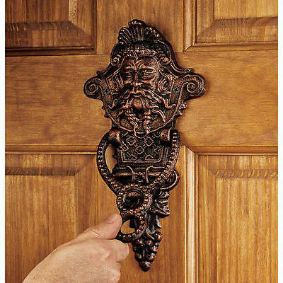 19th Century Victorian Greenman Antique Replica Cast Iron Door Knocker