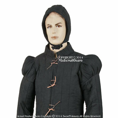 Black Large Gambeson Type7 Medieval Padded Overcoat SCA WMA LARP Arming Jacket