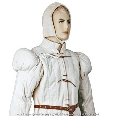 Small Ecru Gambeson Type7 Medieval Padded Armour Coat SCA WMA LARP Arming Jacket