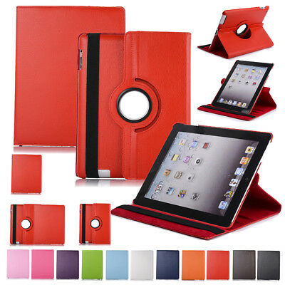 For Apple iPad 2 3 4 Air 5 6 Mini Case Cover PU Leather Wake Plain 360° Rotating