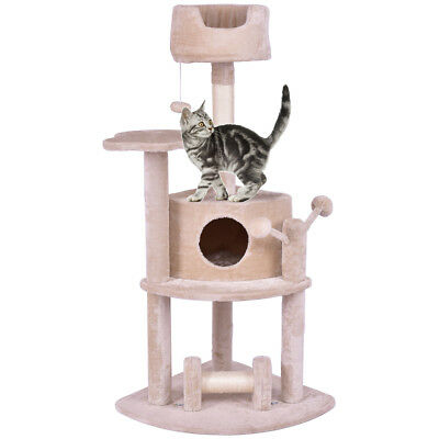 """52"""" Cat Tree Pet Kitten Play House Tower Condo Bed Scratching Post w Hanging Toy"""