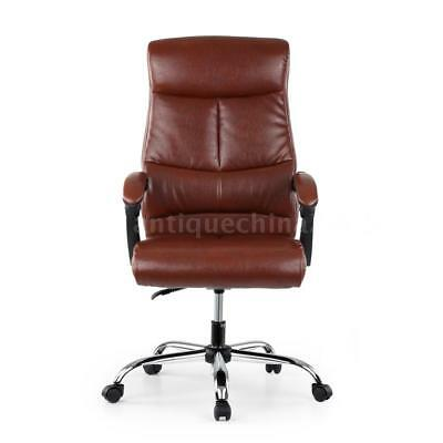 Leather Executive Computer Office Chair 90-170°Recliner Home Office Coffee N0A6