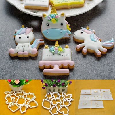 8pcs Unicorn Cookie Biscuit Embossing Mould Sugarcraft Cake Cutters Mold Decor