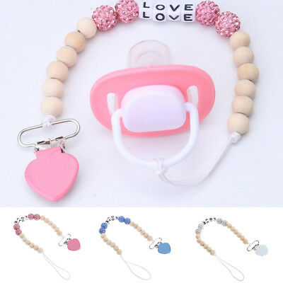 Baby Bling Pacifier Chain Clips Silicone Wood Teething Soother Holder Chain