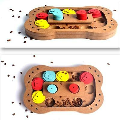 Wooden Puzzle Treat Food Toy For Cats Dogs – Family Time Interactive Toy B