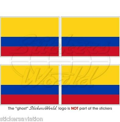 "COLOMBIA Colombian Flag, South America 50mm(2"") Bumper-Helmet Stickers Decals x4"