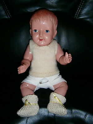 """14"""" ANTIQUE JAPANESE 1920's CELLULOID BOY DOLL WITH MOULDED HAIR & INTAGLIO EYES"""