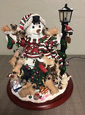 Danbury Mint PUG CHRISTMAS SNOWMAN Lighted Sculpture in Box