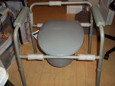 DRIVE MEDICAL ALL IN ONE WELDED STEEL COMMODE 11105N-4 ADJUST HEIGHTS wBUCKET +
