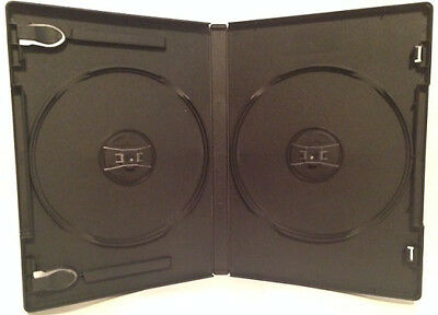 New 10 Premium Black Double Dvd/cd Case With Sleeve - Standard 14Mm -2 Disc Case