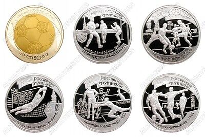 A Set of 6 Pcs Russian European Cup Football Olympic Sports Silver Plated Coins