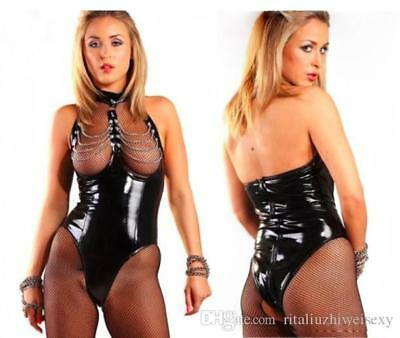 PVC bodysuit, Romper with chains clubwear PVC wet look, sexy, party Size M.....