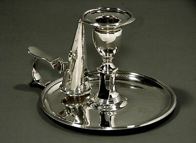 English Sterling Chamber Candlestick         1766 JOHN CROUCH I & THOMAS HANNAM