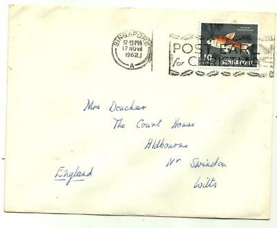 Singapore 1962 Post Early for Christmas illustrated slogan on cover