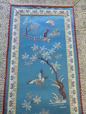 Vintage antique Chinese Silk Embroidery, embroidered panel Birds,trees,plants