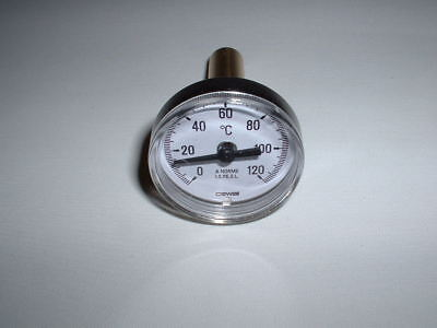 "40Mm Dial 0 To 120C Back Stem Thermometer With 50Mm Brass 1/2"" Bspt Thermopocket"