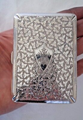 Striking Victorian 1890 Solid / Sterling Silver Concertina Card Case