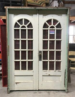 Pair Arched Wood Glass Pane Doors Vintage Architectural Salvage French Entrance