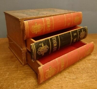 Vtg Retro Wooden Fake Book Box Drawers Leather Spine Old World 23 x 15 x 15 cm