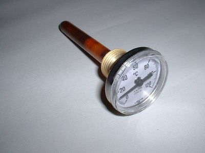 "40MM DIAL 120C BACK STEM THERMOMETER & 100mm 1/2"" BSPT THERMOPOCKET THERMOWELL"