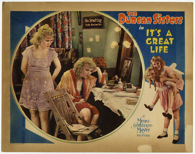 The Duncan Sisters It's a Great Life Vintage 1929 Pre-Code Art Deco Lobby Card