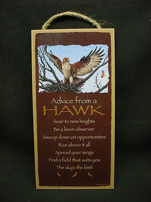 ADVICE FROM A HAWK Wood INSPIRATION SIGN wall hanging NOVELTY PLAQUE Bird animal