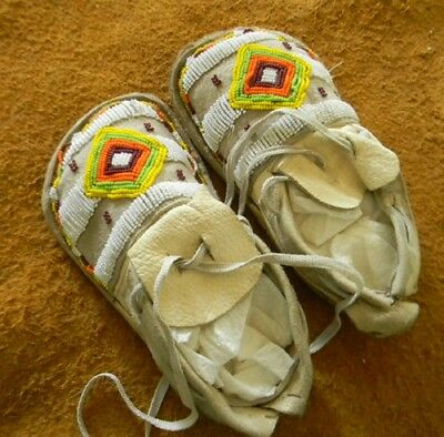 """Vintage Antique Circa 1910-1920 Youth Child Kid Apache Beaded 7-5/8"""" Moccasins"""