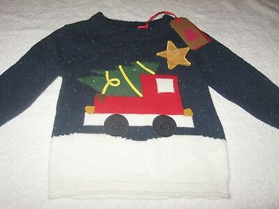CHRISTMAS JUMPER *BNWT* Next 12-18 months *LIGHTS* Truck Tree Baby Boys Xmas New