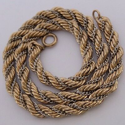 Vintage Yellow & White Gold Filled Braided Chain Necklace
