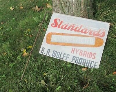 Standards Multi Perfected Hybrids Wulff Seed Corn Vintage Metal Advertising Sign